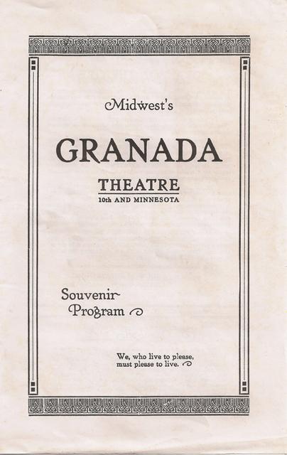Granada Theatre Grand Opening Program Cover