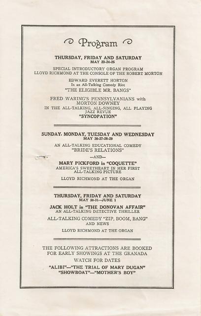 Granada Theatre Grand Opening Program page 3