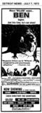 "AD FOR ""BEN"" - ALLEN PARK CINEMA"