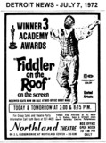 "AD FOR ""FIDDLE ON THE ROOF - RESERVED SEATS"" - NORTHLAND THEATRE"