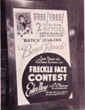 "<p>1946 standee promoting a freckle face contest at the Colonial to promote ""Boys Ranch.""</p>"