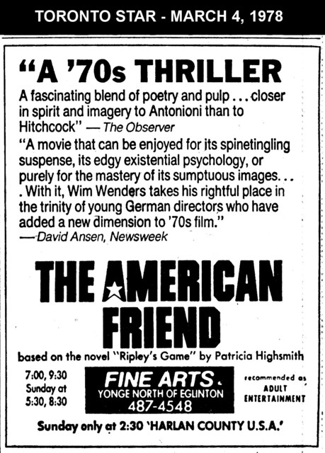 """AD FOR """"THE AMERICAN FRIEND"""" - FINE ARTS THEATRE"""