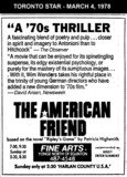 "AD FOR ""THE AMERICAN FRIEND"" - FINE ARTS THEATRE"