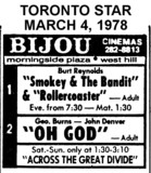 "AD FOR ""SMOKEY & THE BANDIT, ROLLERCOASTER & OH GOD"" - BIJOU CINEMAS"