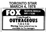 "AD FOR ""OUTRAGEOUS"" - FOX THEATRE"