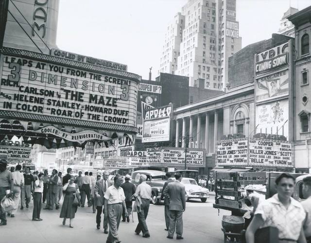 """Promotional handouts for Cinerama's """"Seven Wonders Of The World"""". 1953 photo courtesy of Al Ponte's Time Machine – New York Facebook page."""