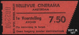 TICKET STUB BELLVUE CINERAMA AMSTERDAM SEPT 28, 1977