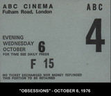 TICKET STUB FOR THE ABC CINEMA FULHAM ROAD, LONDON UK