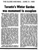 STORY FROM THE GLOBE AND MAIL ABOUT THE WINTER GARDEN THEATRE