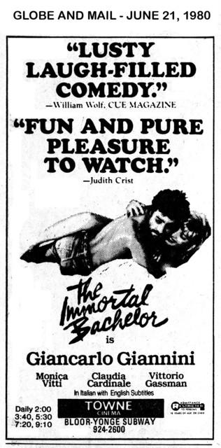 "AD FOR ""THE IMMORTAL BACHELOR"" - TOWNE CINEMA"