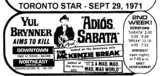 "AD FOR ""ADIOS SABATA"" - DOWNTOWN THEATRE"