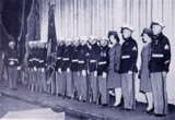 "<p>On stage for the wartime ""Salute to the Marines"" are members of the William Cooper Marine Post of the American Legion presenting the colors on stage of the Loew's Rochester.</p>"
