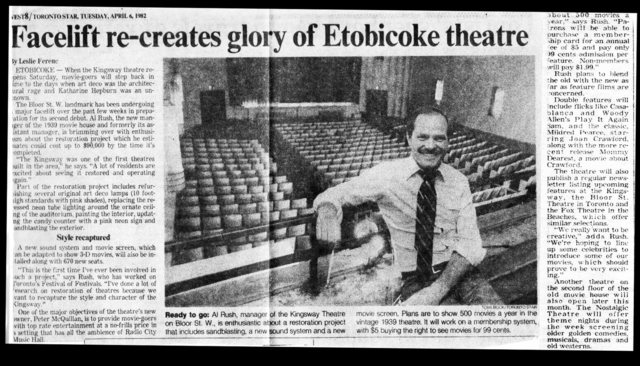 Festival Chain remodels the Kingsway Theatre 1982