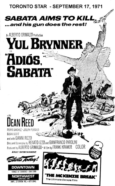 """AD FOR """"ADIOS SABATA"""" - DOWNTOWN AND OTHER THEATRE"""