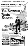 "AD FOR ""ADIOS SABATA"" NORTHWEST DRIVE-IN AND DOWNTOWN THEATRE"