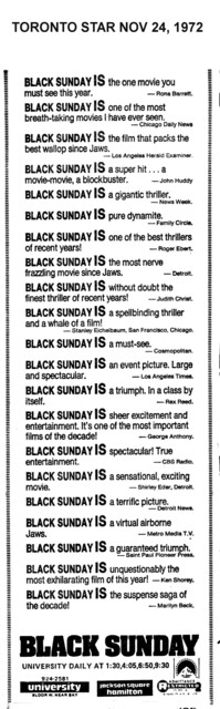 "AD FOR ""BLACK SUNDAY"" - UNIVERSITY AND JACKSON SQUARE HAMILTON THEATRES"