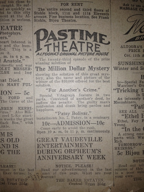 Pastime Theater advertisement