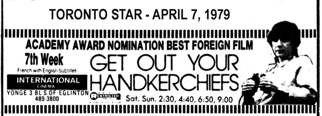 """AD FOR """"GET OUT YOUR HANDKERCHIEFS"""" - INTERNATIONAL CINEMA"""