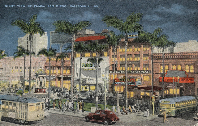 Vintage streetcar era postcard with Cabrillo and Plaza Theaters