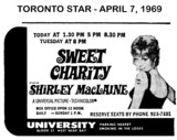 "AD FOR ""SWEET CHARITY"" - UNIVERSITY THEATRE"
