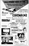 September 30th, 1965 grand opening ad as Cinema 1 & 2