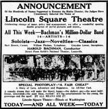 November 11th, 1923 grand opening ad as Lincoln Square