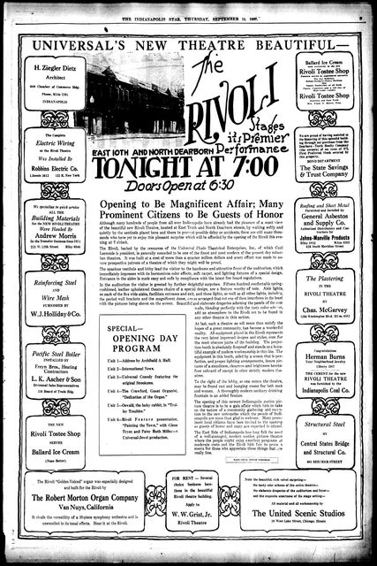 September 25th, 1927 grand opening ad