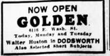 February 14, 1937 grand opening ad as Golden