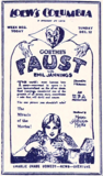 "<p>Super ad layout by the Loew's Columbia Theatre for its MGM film, ""Faust"" playing there late in 1926.</p>"