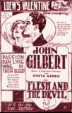 "<p>Stellar ad design by the Loew's Valentine in 1927 for the John Gilbert / Greta Garbo film, ""Flesh of the Devil.""</p>"
