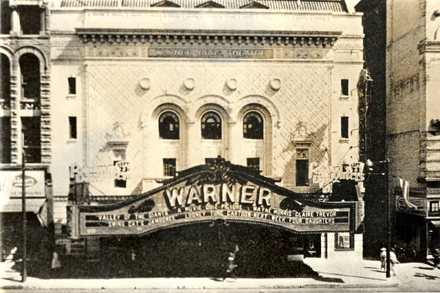 Warner Theatre incandescent marquee 1940