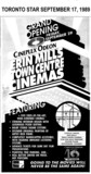 "AD FOR ""THE GRAND OPENING FRIDAY SEPT 29, 1989"" ERIN MILLS TOWN CENTRE CINEMAS"