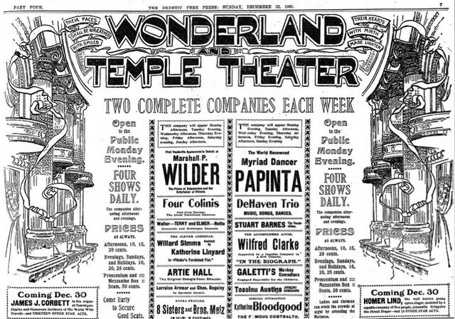 December 22nd, 1901 grand opening ad as Wonderland Temple