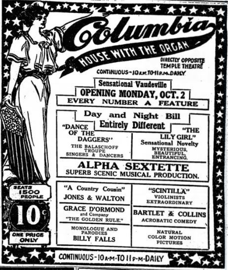 October 1st, 1911 grand opening ad