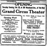 February 18th, 1913 grand opening ad