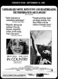 "AD FOR ""IN COUNTRY 70MM"" - EGLINTON THEATRE"