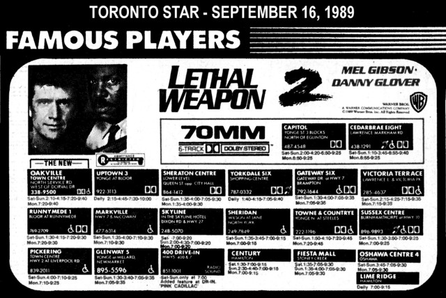 """AD FOR """"LETHAL WEAPON 2"""" - OSHAWA CENTRE 4 THEATRE AND OTHERS"""