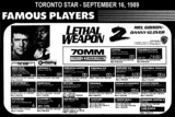 "AD FOR ""LETHAL WEAPON 2"" - OSHAWA CENTRE 4 THEATRE AND OTHERS"