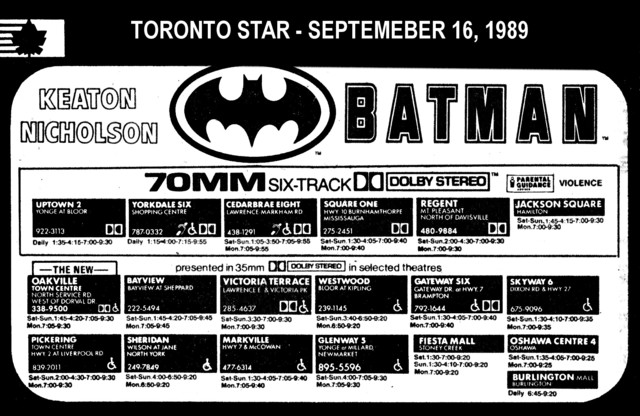 "AD FOR ""BATMAN 70MM"" - JACKSON SQUARE AND OTHER THEATRES"