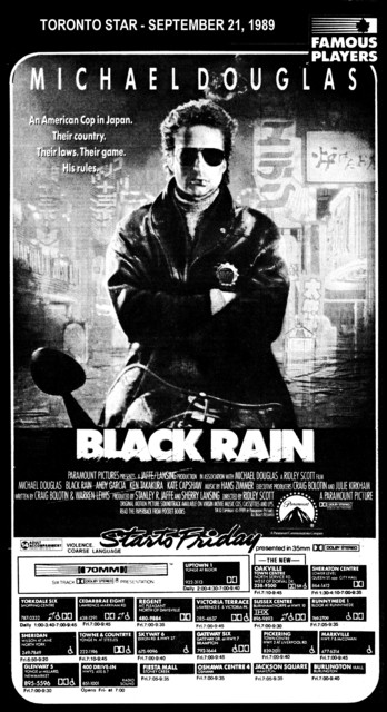 "AD FOR ""BLACK RAIN"" - SHERATON CENTRE AND OTHER THEATRES"