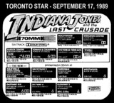 """AD FOR """"INDIANA JONES THE LAST CRUSADE 70MM"""" - SHERATON CENTRE & OTHER THEATRES"""
