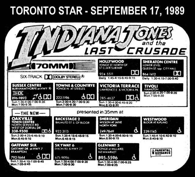 """AD FOR """"INDIANA JONES AND THE LAST CRUSADE"""" - OAKVILLE TOWN CENTRE AND OTHER THEATRES"""