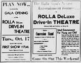 <p>Grand opening ad for the Drive-In Theatre on October 17, 1950.</p>
