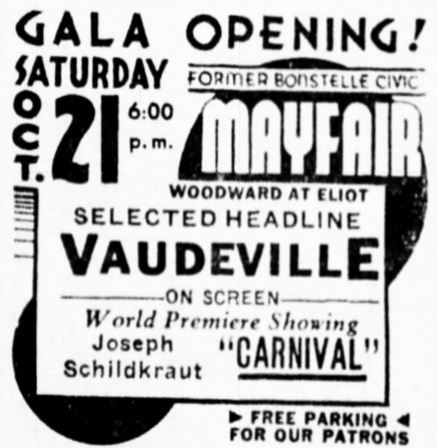 October 20th, 1933 grand opening ad