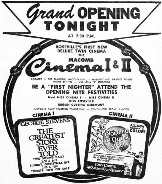 December 22nd, 1965 grand opening ad