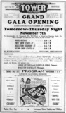 Tower Theatre Grand Opening Ad 1940