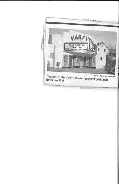 Varsity Theatre in Raleigh grand opening on November 9, 1941 with 505 seats