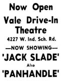 February 22nd, 1958 grand opening ad as Vale Drive-In