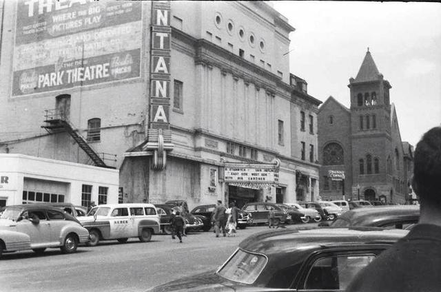 Park Theatre advertisment on the wall of the Montana Theater. 1949 photo courtesy of Dave Byrne.