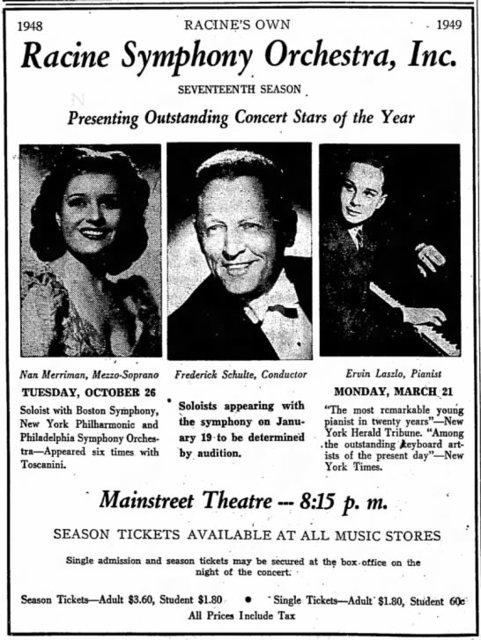 RKO MAINSTREET (BATE, ORPHEUM, NATIONAL, ALLEN) Theatre; Racine, Wisconsin.